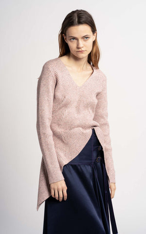 Grace Multicolor Melange Gathered V Sweater
