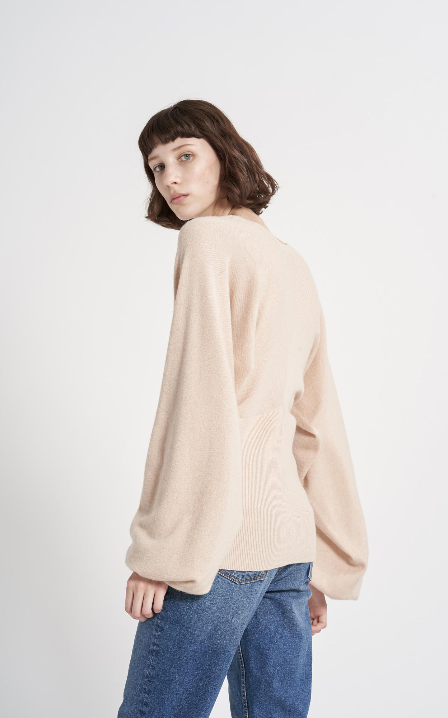 Jodie Wool Cashmere Puff Sleeve Crew Sweater