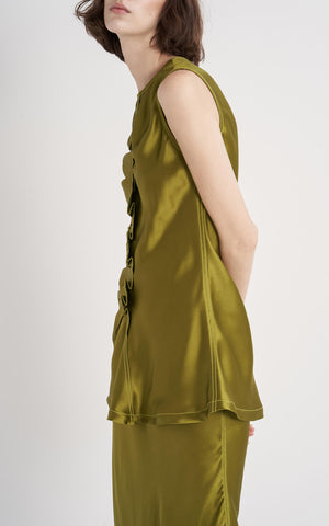 Jules Double Face Silk Ruffle Sleeveless Top