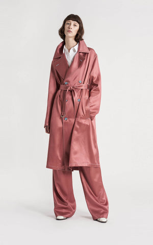 Sigourney Twill Satin Double Breasted Trench Coat