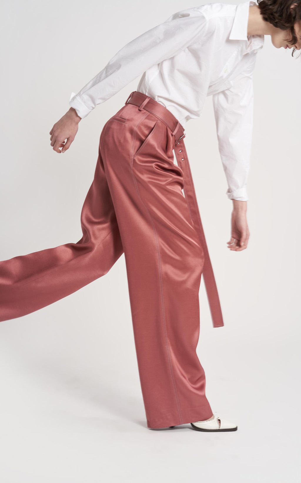 Blanche Twill Satin Wide Leg Pant