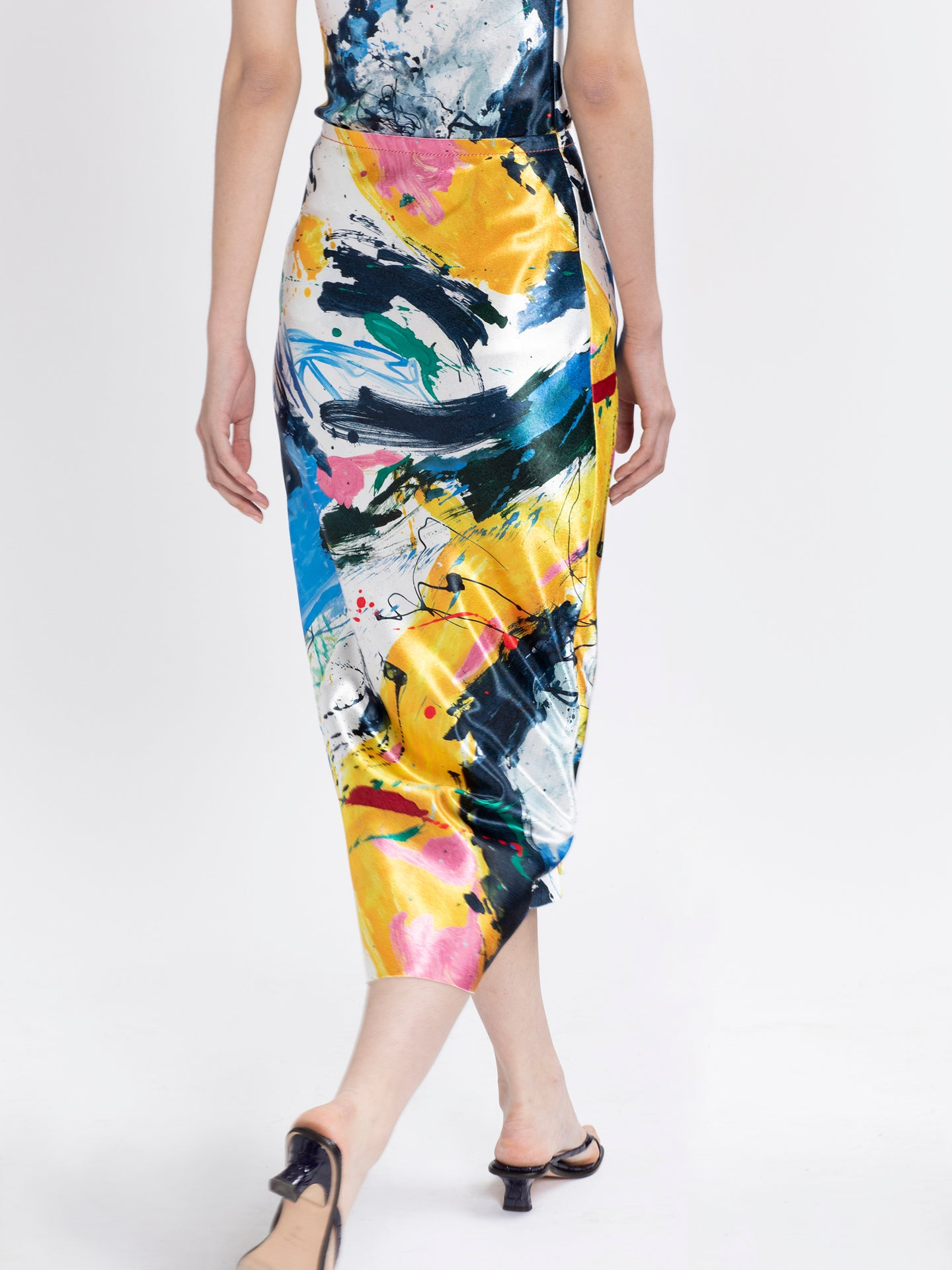 Aliya Printed Satin Skirt