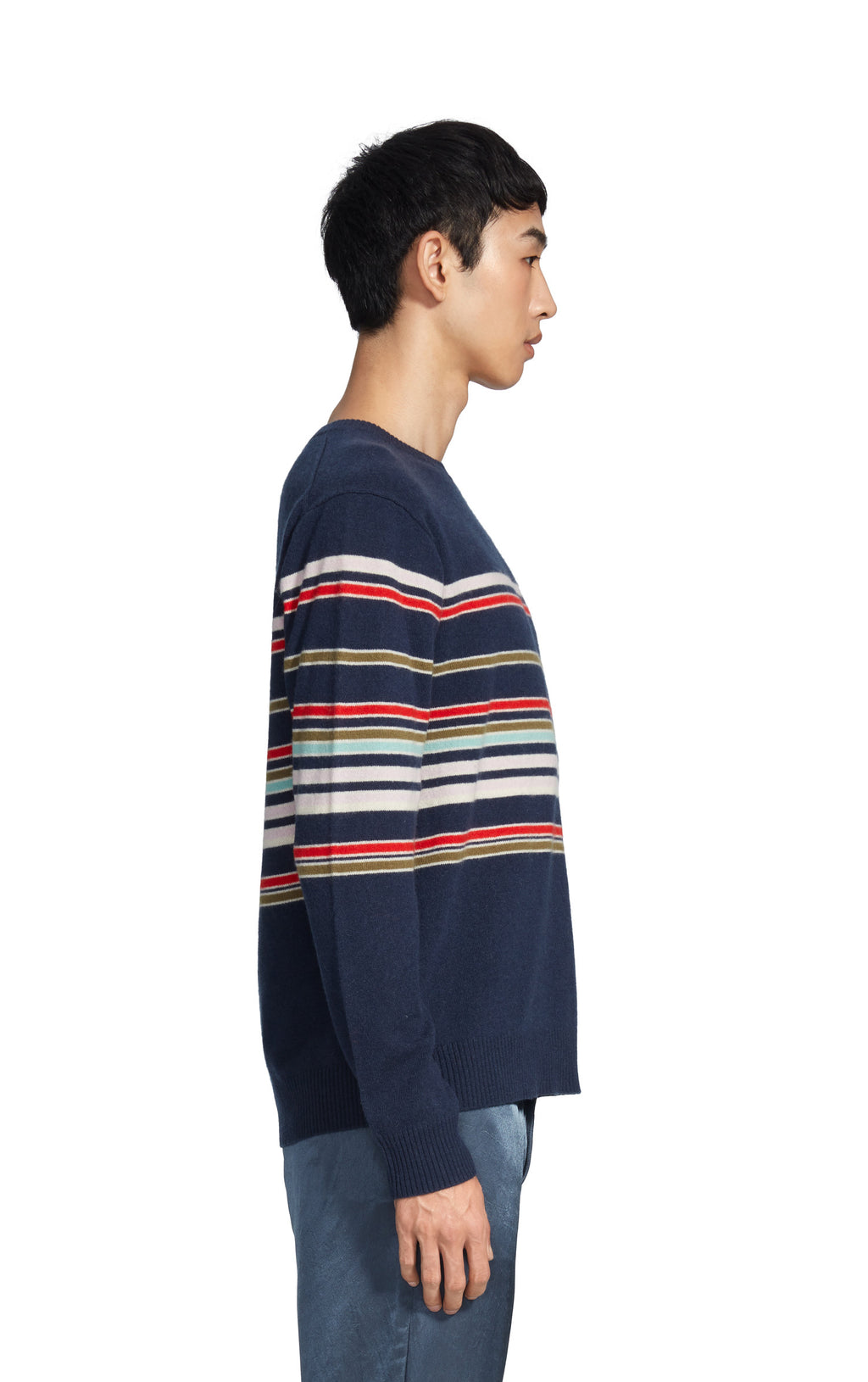 Vin Cashmere Striped Crewneck Sweater