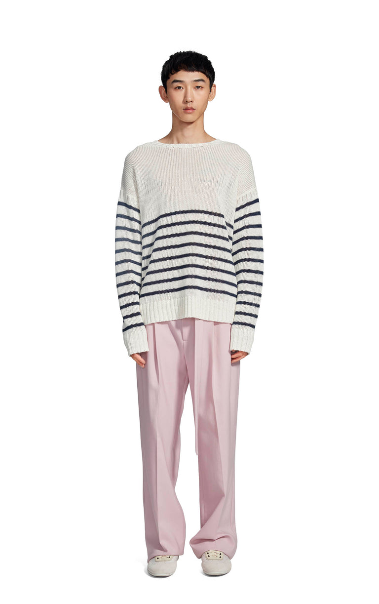 Kyle Linen Stripe Crewneck Sweater