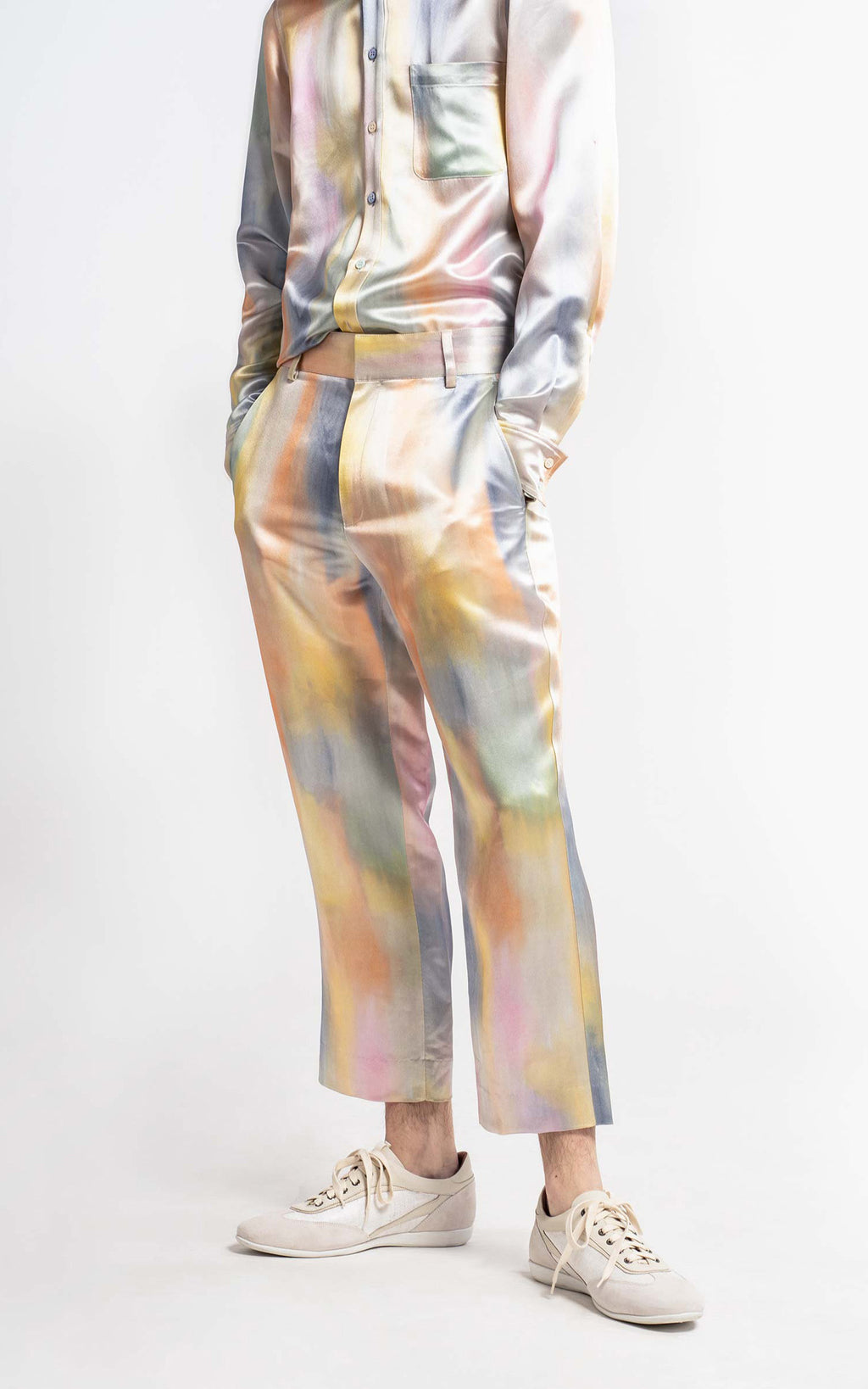 Alex Printed Satin Cropped Pant