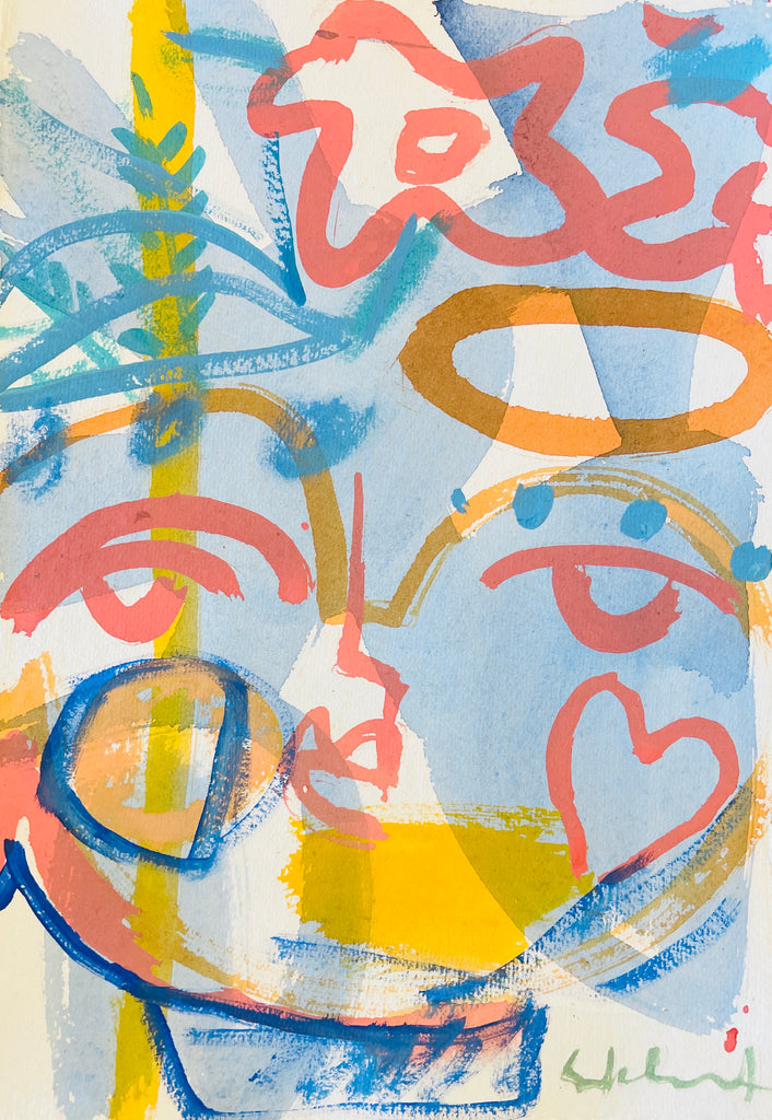 Garden Party Face - 12 x 8 Original on paper