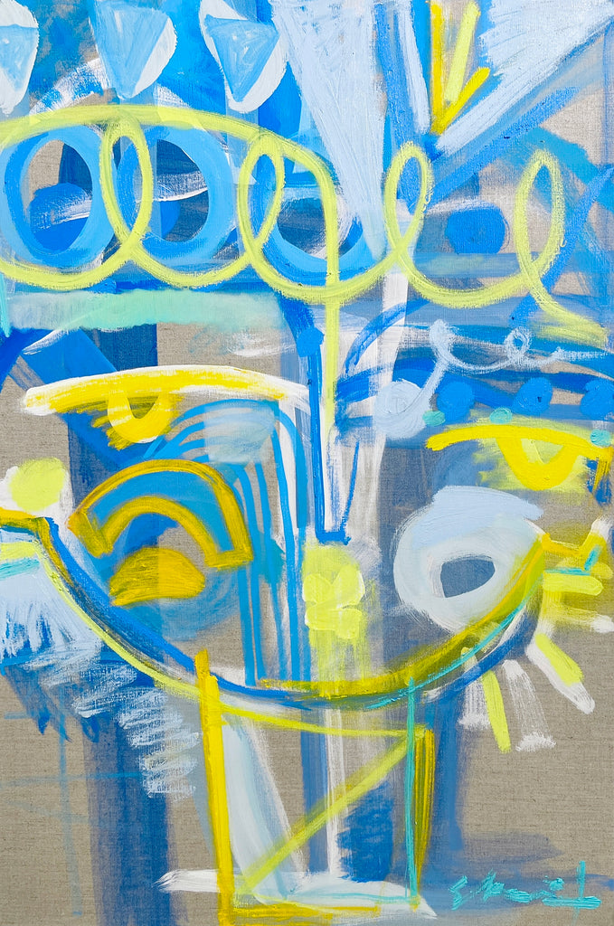 Spring Forward Face 36 x 24 on linen - Atlanta Studio