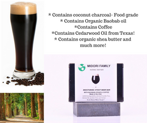 Natural black soap - w/ coconut charcoal, beer, coffee and organic oils
