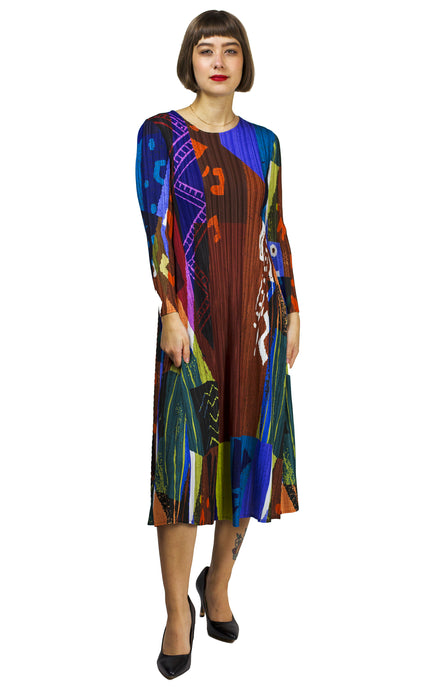 print pleated dress from vanite couture
