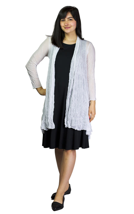 crinkle mesh long open cardigan from comfy