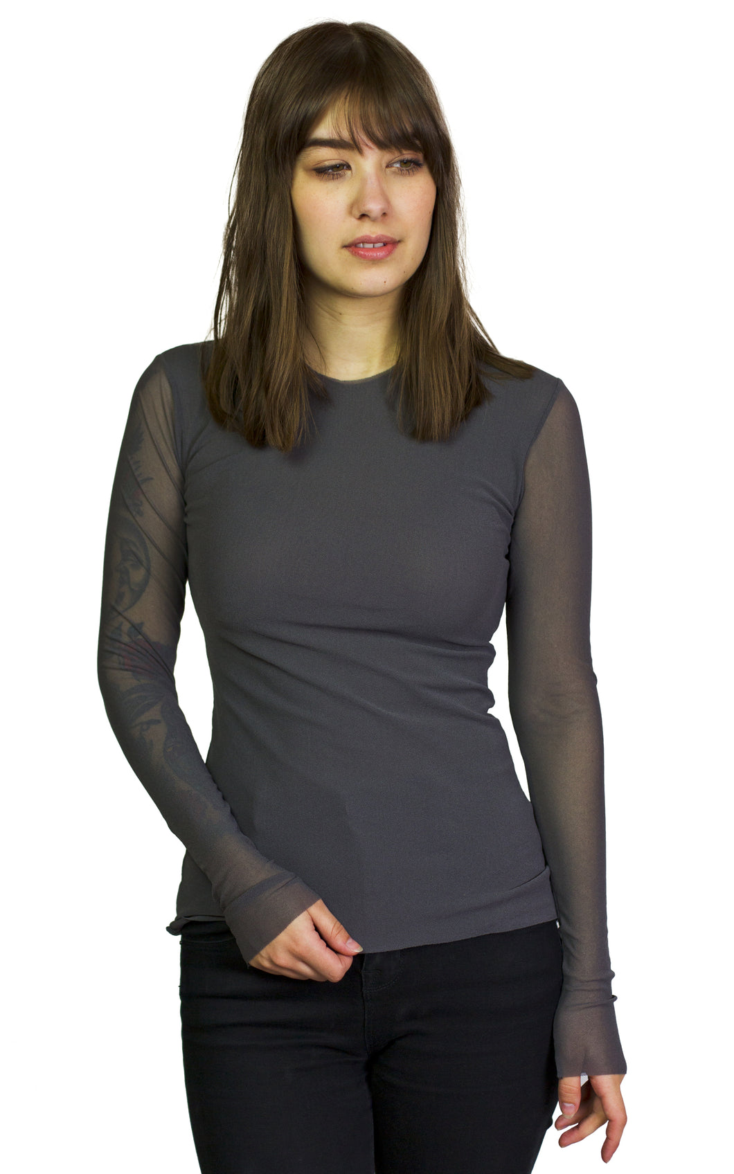 long sleeve mesh crew neck top from petit pois