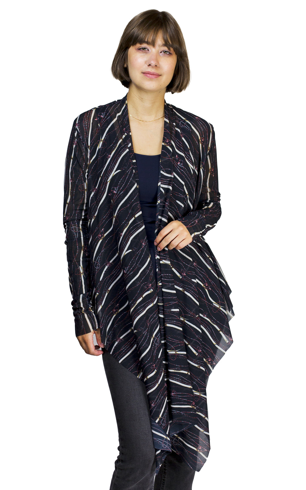 printed mesh open cardigan from petit pois