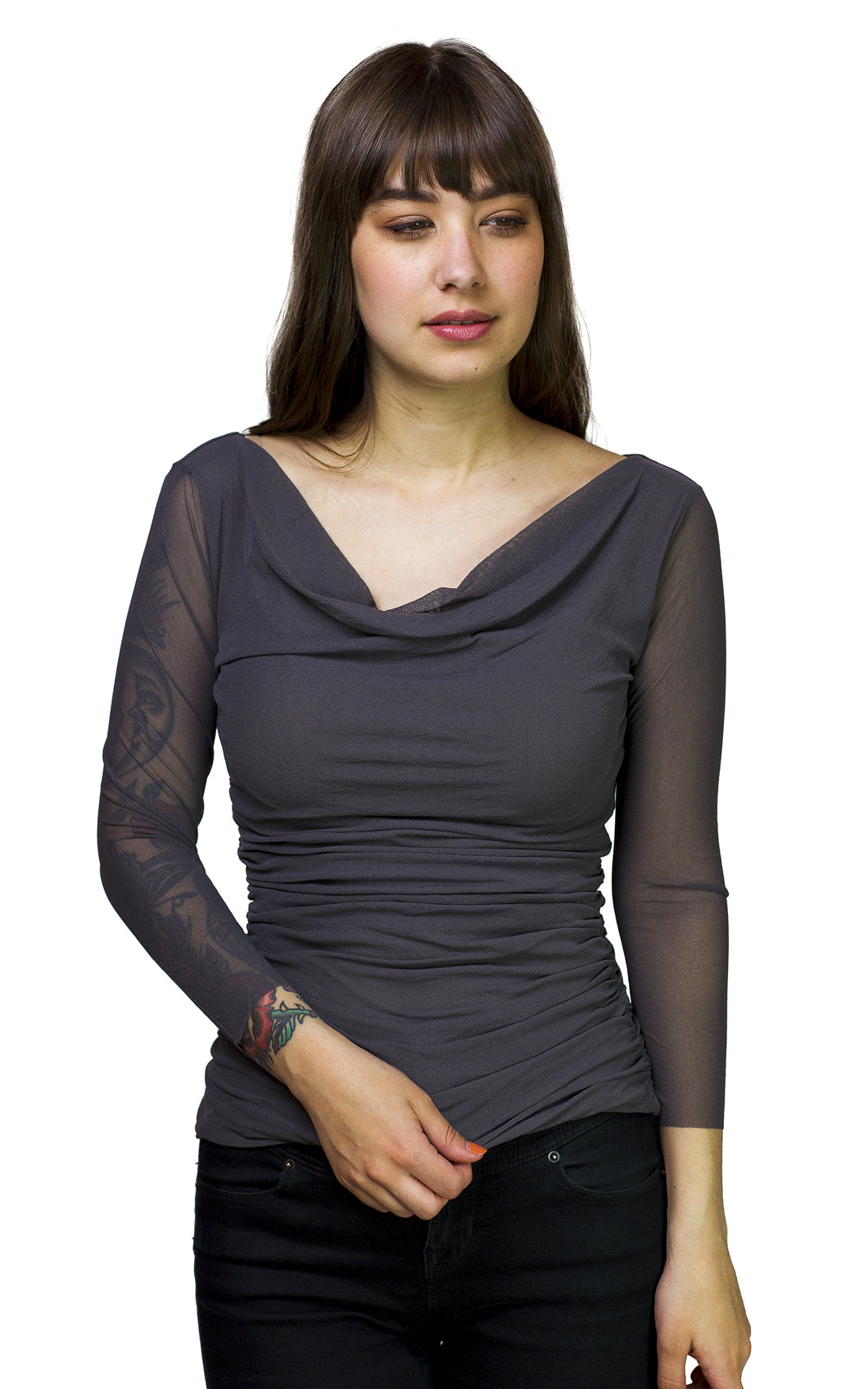 ruched top with sleevess from petit pois