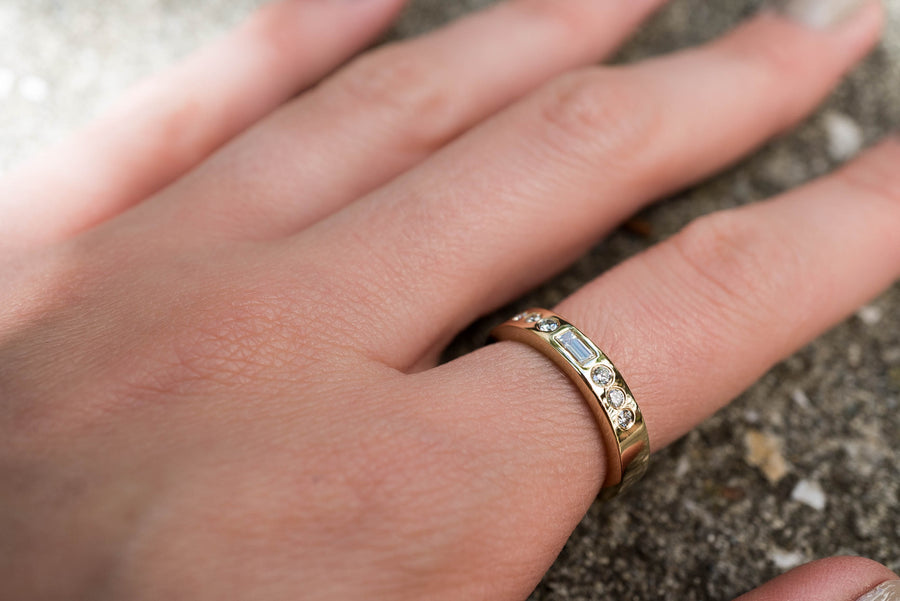 Gold Band with a Baguette Diamond