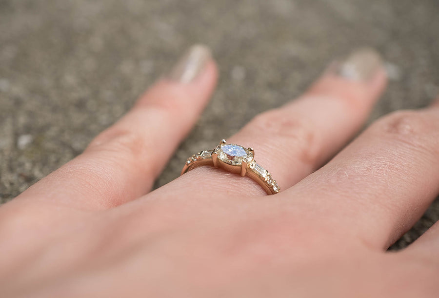Sideways Oval & Baguette Ring