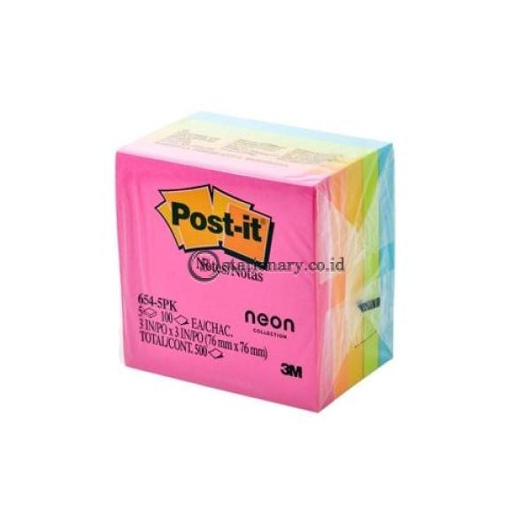 3M Post It 654-5Pk Neon Colour Office Stationery