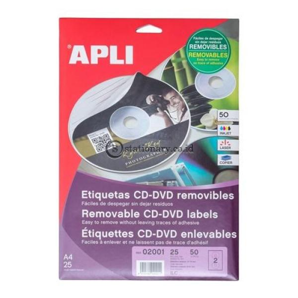 Apli Label Cd Romremovable Out 114 X In 41Mm 50 Unit #02001 Office Stationery