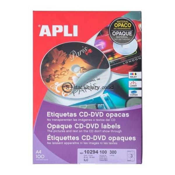 Apli Label Permanent Opaque Mega Cd/dvd 300 Unit #10294 Office Stationery