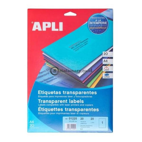 Apli Label Polyester Transparent 210 X 297Mm 20 Unit #01225 Office Stationery