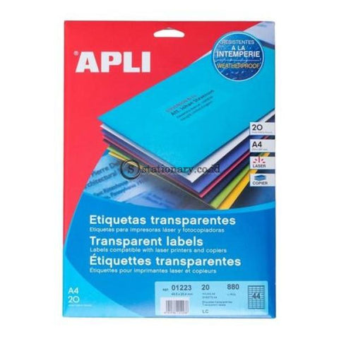 Apli Label Polyester Transparent 48.5 X 25.4Mm 880 Unit #01223 Office Stationery