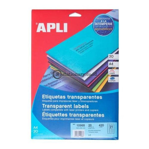 Apli Label Polyester Transparent 63.5X38.1Mm 420 Unit #10968 Office Stationery