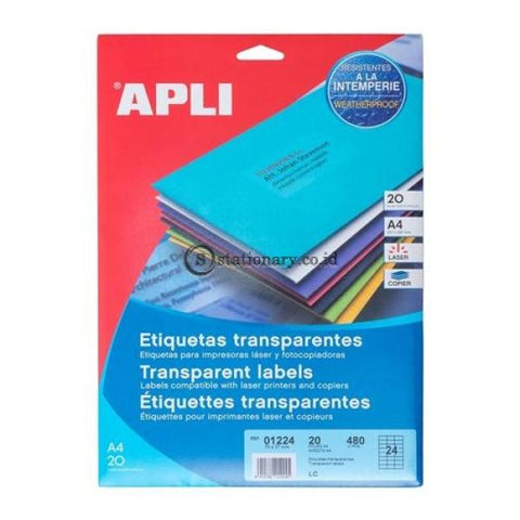 Apli Label Polyester Transparent 70 X 37Mm 480 Unit #01224 Office Stationery