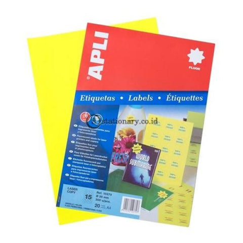Apli Label Promotional Fluorescent Yellow 35Mm 300 Unit #10370 Office Stationery
