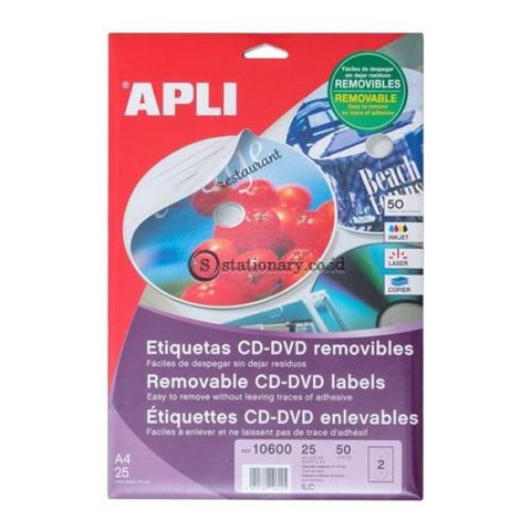 Apli Label Removable Mega Cd/dvd 50 Unit #10600 Office Stationery