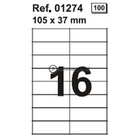 Apli Label White Paper 105 X 37Mm 80 Unit #ra01274 Office Stationery