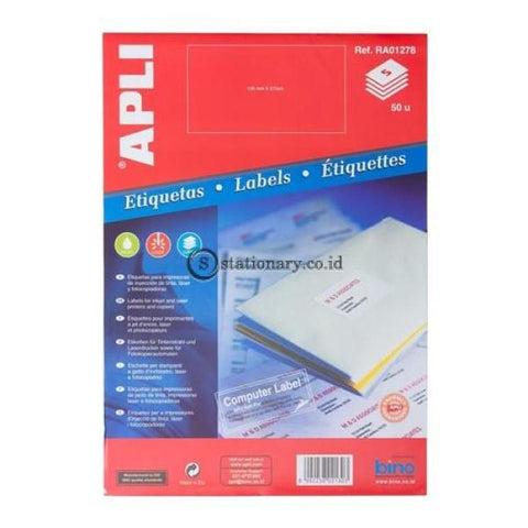 Apli Label White Paper 105 X 57Mm 50 Unit #ra01278 Office Stationery
