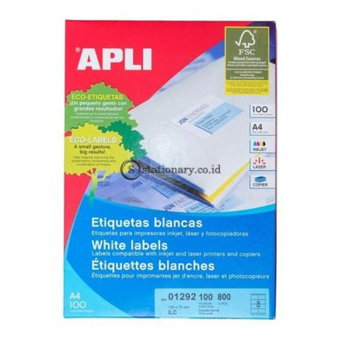 Apli Label White Paper 105 X 70Mm 800 Unit #01292 Office Stationery