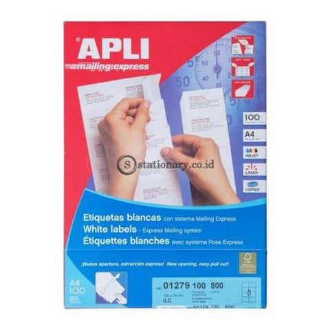Apli Label White Paper 105 X 74Mm 800 Unit #01279 Office Stationery