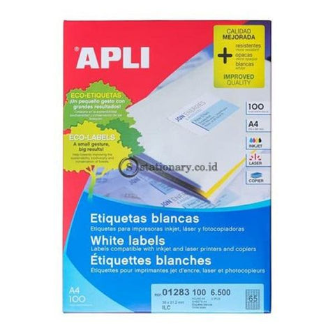 Apli Label White Paper 38 X 21.2Mm 6500 Unit #01283 Office Stationery