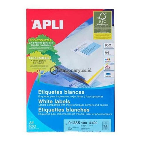 Apli Label White Paper 48 5 X 25.4Mm 4400 Unit #01285 Office Stationery