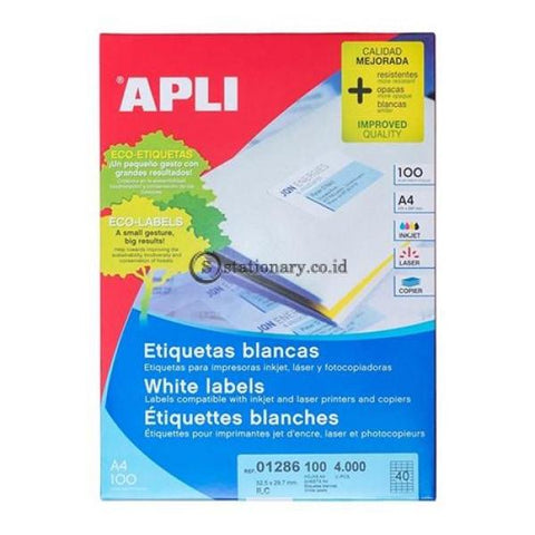 Apli Label White Paper 52 5 X 29 7Mm 4000 Unit #01286 Office Stationery