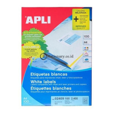 Apli Label White Paper 64 X 33.9Mm 2400 Unit #02409 Office Stationery