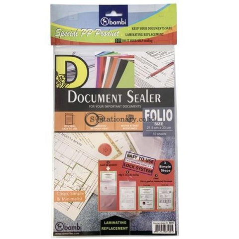 Bambi Document Sealer Transparant Pocket 0.10Mm (10Pcs) Folio #5035 Office Stationery