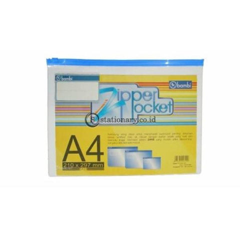 Bambi Zipper Pocket A4 5131 Putih Office Stationery