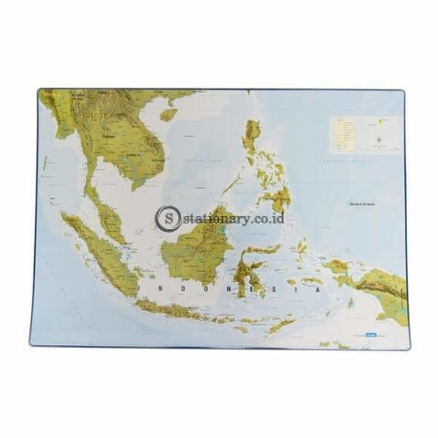 Bantex Desk Pad With Indonesia Maps 44x63cm Blue #4151 01