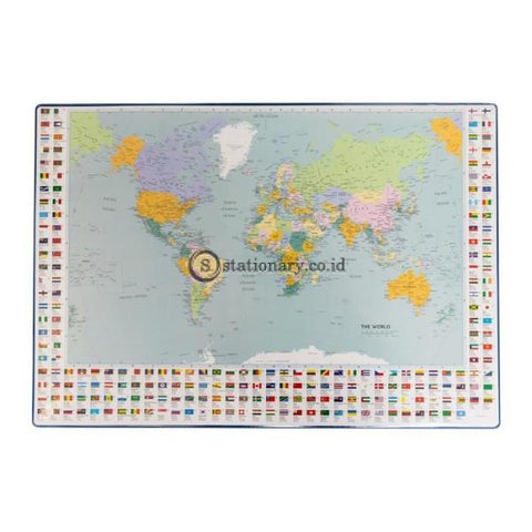 Bantex Desk Pad With World Maps 44x63cm Blue #4150 01