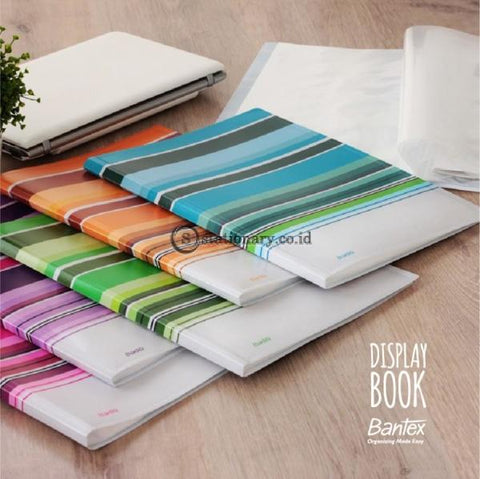 Bantex Fancy Stripe Display Book (30 Pocket) Folio Sky Blue #3197 23