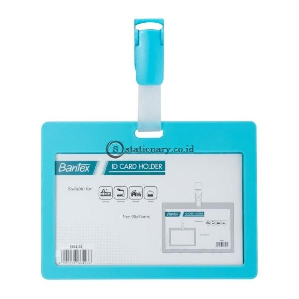 Bantex ID Card Holder With Clip 90x54mm Landscape Sky Blue #8864 23
