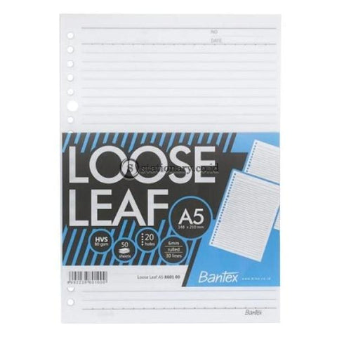 Bantex Loose Leaf Paper 20 Holes 80 Gsm 50 Sheets A5 #8601 00 Office Stationery