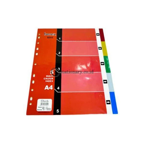 Benex Index Divider Plastik A4 5 Warna #9205 Office Stationery Promosi