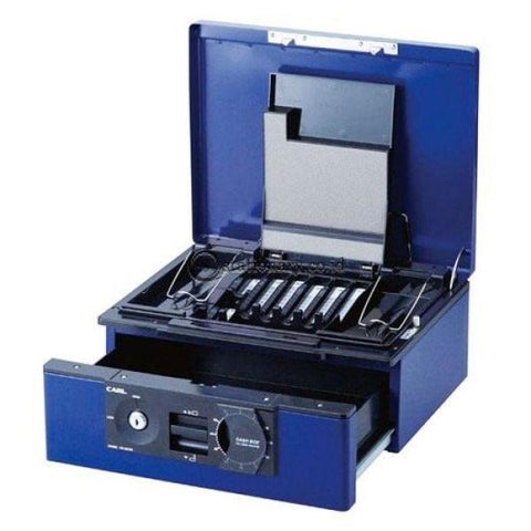 Carl Cash Box Cb-D8760 (2-Way Open Drawer Type) Blue Office Furniture