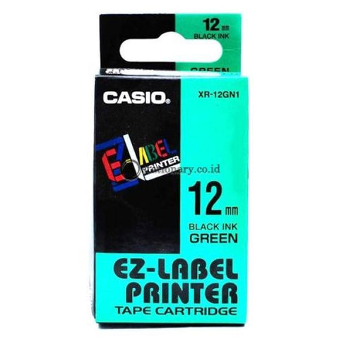 Casio Ez Label Printer Xr-12Gn1 12Mm Black On Green Tape Cartridge Office Equipment