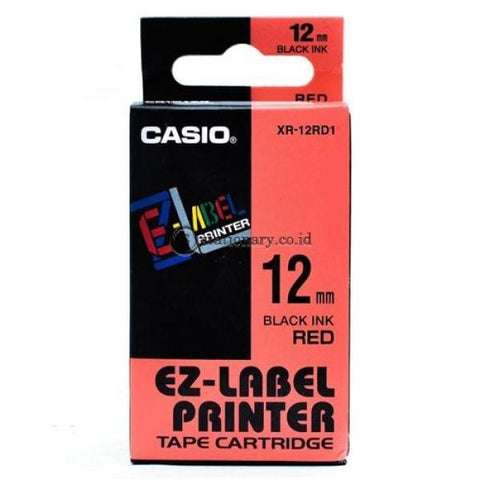 Casio Ez Label Printer Xr-12Rd1 12Mm Black On Red Tape Cartridge Office Equipment