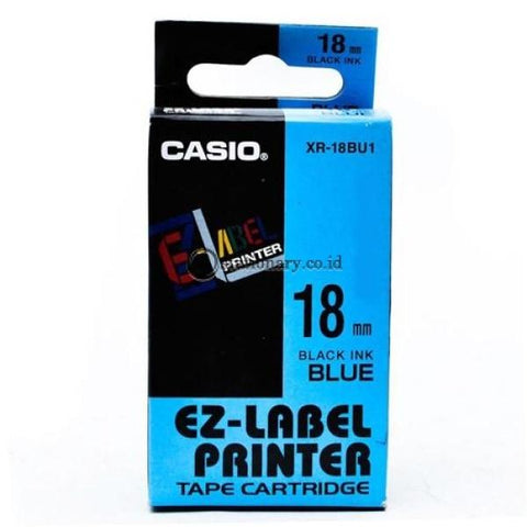 Casio Ez Label Printer Xr-18Bu1 18Mm Black On Blue Tape Cartridge Office Equipment