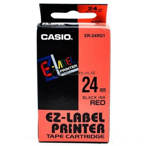 Casio Ez Label Printer Xr-24Rd1 24Mm Black On Red Tape Cartridge Office Equipment