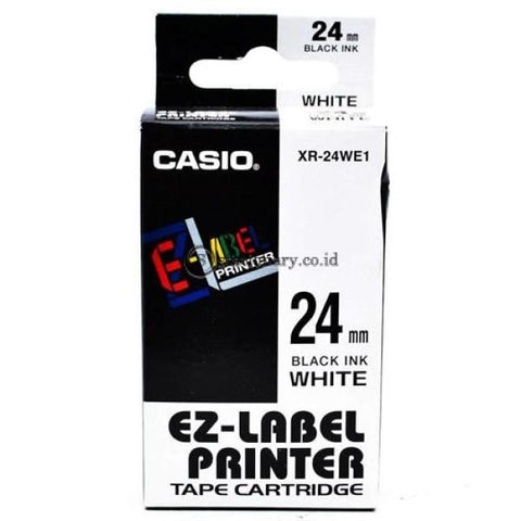 Casio Ez Label Printer Xr-24We1 24Mm Black On White Tape Cartridge Office Equipment